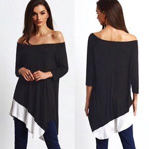 Asymmetrical Contrast Hem 3/4 Sleeve Jersey Tunic