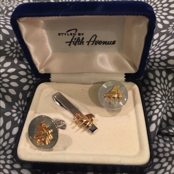 Baby Grand Piano Cuff Links Tie Tack Set Fifth Ave Os From