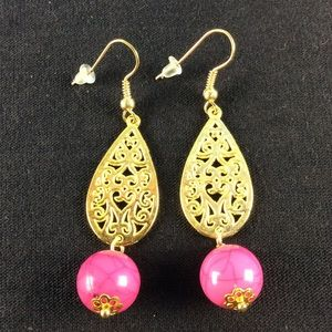 New Pink and Gold Dangle Earrings