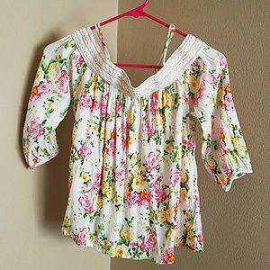 Chloe K Tops - Chloe K floral off the shoulder blouse PRICE FIRM
