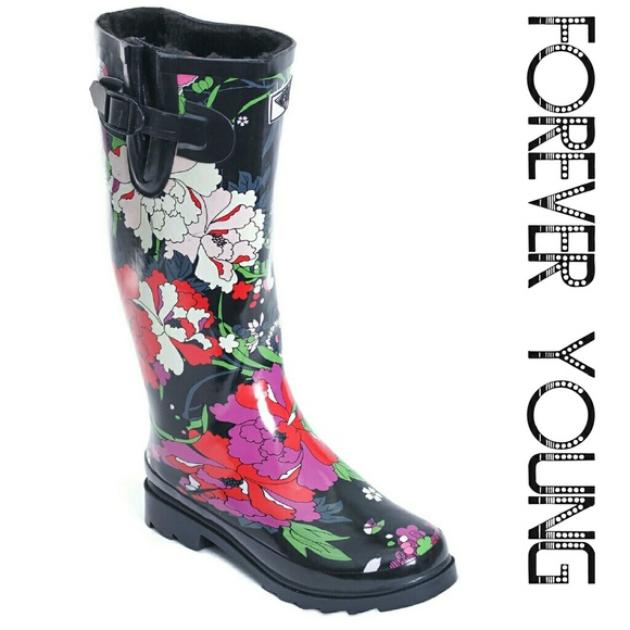 79bf7b802ae5 Forever Young Shoes | Faux Fur Lined Tall Rain Boots 1528 Flowers ...
