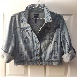 Highway Jeans Jackets & Blazers - Rolled 3/4 sleeve Distressed Cropped Denim Jacket