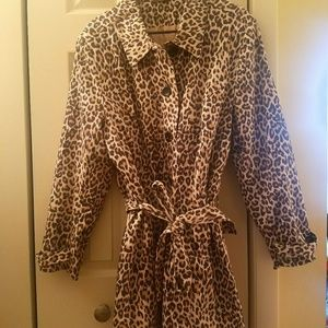 Woman's Touch Apparel Jackets & Blazers - Leopard print button up rain/ all weather jacket