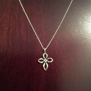 James Avery Jewelry - James Avery Cross with Aqua Spinel and chain