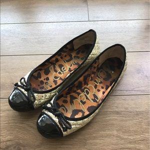 Sam Edelman flats Loafers 8.5 black gold