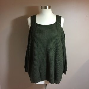 Forever 21 Sweaters - Forever 21 Boxy Cable Knit Cold Shoulder Sweater