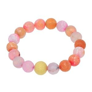 🌅👉🏼Pink & Orange Semi Precious Bead Bracelet