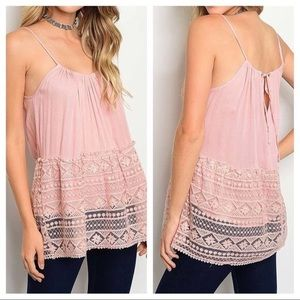Tops - Pink Strappy Rayon and Lace Long Tank Top