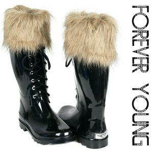 Women Tall Rain Boots with  Fur Cuff, #1802, Black