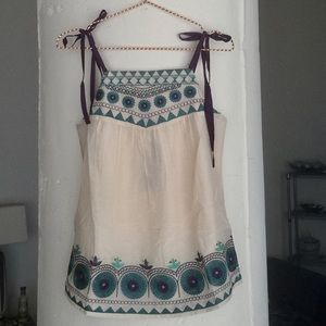Sugarlips Tops - Sugarlips Boho Silk Embroidered Summer Top