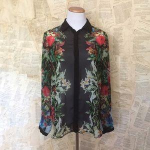 Zara Floral Crepe Top
