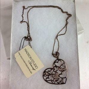 Madison Studio Gold Heart Rhinestones Necklace NWT