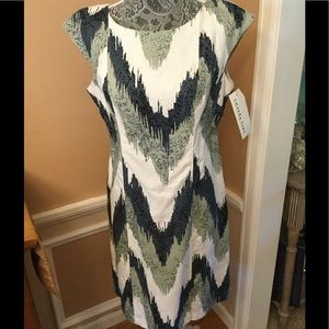 Amanda Lane Dresses & Skirts - NWT CHEVRON BLUE/GRAY/WHITE CAP SLEEVE  DRESS