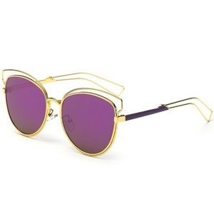 🌅Purple & Gold Hollow Cat Eye Shades