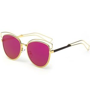 🌅Magenta & Gold Hollow Cat Eye Shades