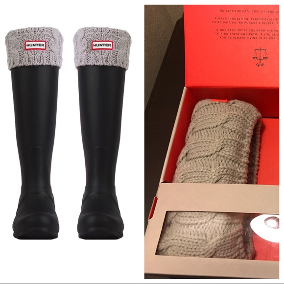 durable in use cost charm discount NIB Hunter Cable Knit Tall Boot Socks Sz L - Gray NWT