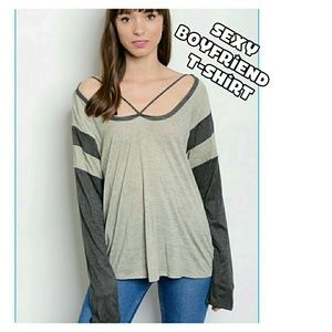 Tops - Taupe and Grey Sexy Boyfriend t-shirt
