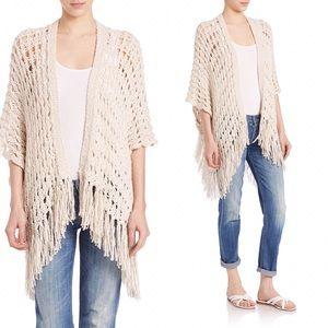 360 Cashmere Jackets & Blazers - 360 Cashmere Natural Porsha Knit Fringe Poncho