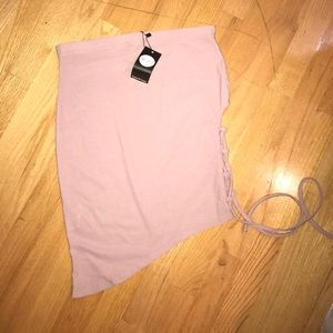 Lace Up Side Asymmetrical Mini Skirt in Mauve