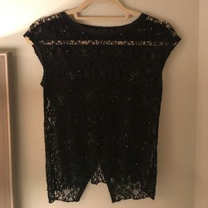 Zara black lace top with open back detail