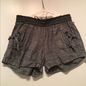 Pants - Faux Denim Shorts with Fitted Waistband Worn Once