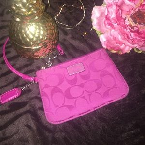 Coach Handbags - Pretty pink Coach wristlet 👛