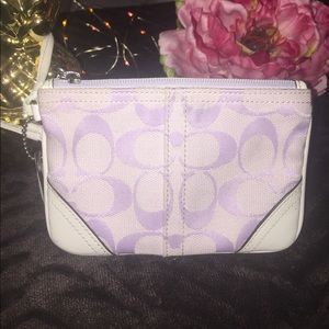 Coach Handbags - Beautiful purple and white Coach wristlet 💜