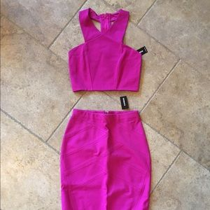 Express Dresses & Skirts - NWT! Fuchsia Pink Crop Top and Pencil Skirt Set