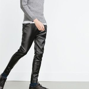 c17ba51b6e Zara Men's Black Faux Leather Skinny Trouser Pants NWT