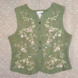 Vintage Paul Harris Design Floral Embroidered Vest
