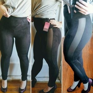 Yummie by Heather Thomson Pants - Side mesh stretch suede leggings