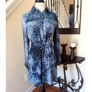 Tops - Gray and Blue Tie Dye Long Sleeve Tunic Blouse Top