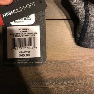 891e15425653d Reebok Intimates   Sleepwear - Reebok High Support Push Up Zipper Sports Bra  Grey