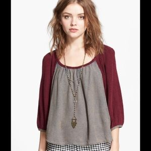 Free People 'Fastball' Gathered Thermal Top XS