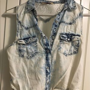 Highway Jeans Tops - Highway Jeans jean and lacy vest