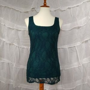 Annalee + Hope Tops - Teal Lace Overlay Tank