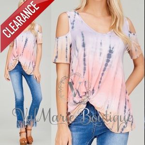 📍CLEARANCE 📍STUNNING Tie Dye Cold Shoulder Top
