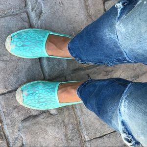 Boutique Shoes - Mint Cheetah Print Slip On Espadrille