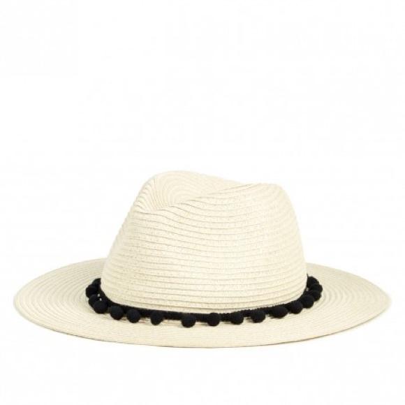 Rachel Zoe straw Panama hat with black poms d2c5761d6914