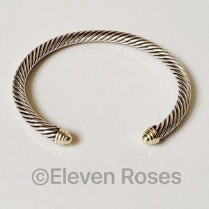 David Yurman Jewelry - David Yurman Sterling 14k Gold Cable Cuff Bracelet