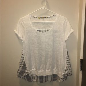 Anthropologie Little Yellow Button Top White XS