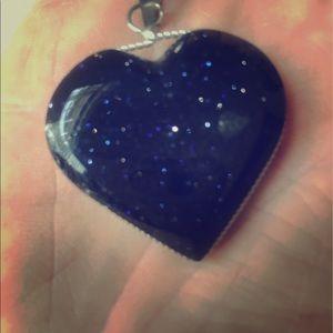 Jewelry - Black w/ blue spex heart pendant with silver trim