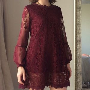 Dresses & Skirts - Maroon Floral Lace Short Dress from Japan