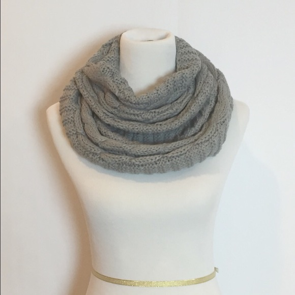 38 Off Accessories Grey Cowl Neck Knit Infinity Scarf
