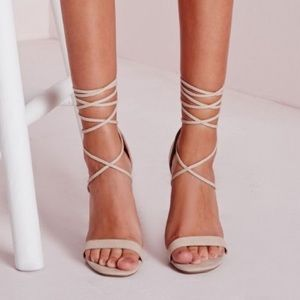  HP  Missguided 'Barely There Lace-Up Heels'