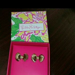 Lilly pulitzer Bow tie earrings gold stud NEW