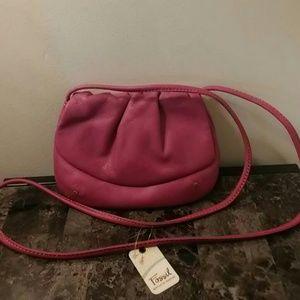 Fossil Raspberry Leather Shoulder Bag