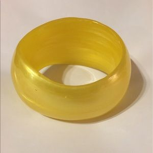 Retro Yellow Swirl Moon-glow Wide Bangle Bracelet