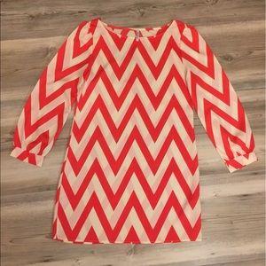 Auditions Dresses & Skirts - Orange & white chevron dress