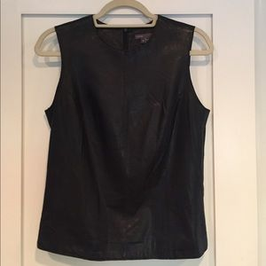 Vince Genuine All Leather Shell, Black, Size 6